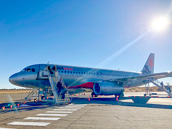 The inaugural Jetstar flight from Brisbane at Ayers Rock Airport