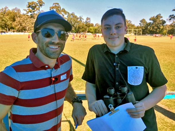 QAFL commentators Matt Carroll and Riley Staraj