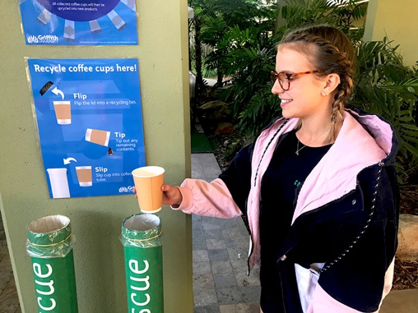 Griffith University coffee cup collection point