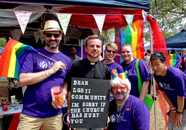 Pastor Alex Pittaway and Metropolitan Community Church members at Brisbane Pride