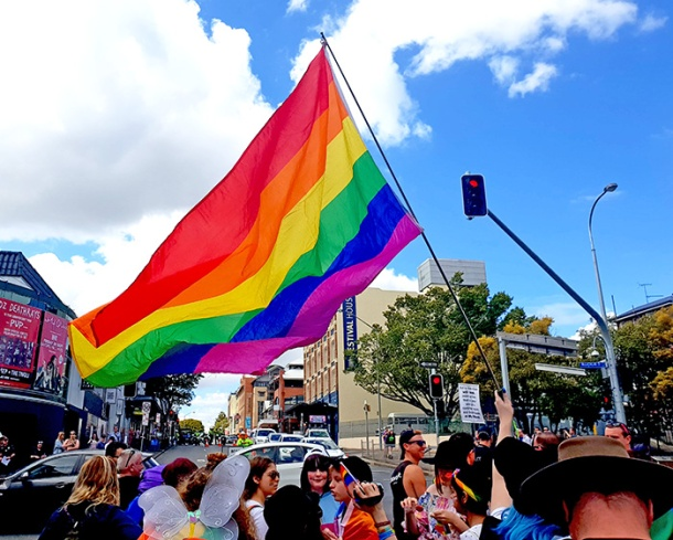 Pride flags Brisbane Pride March 2018