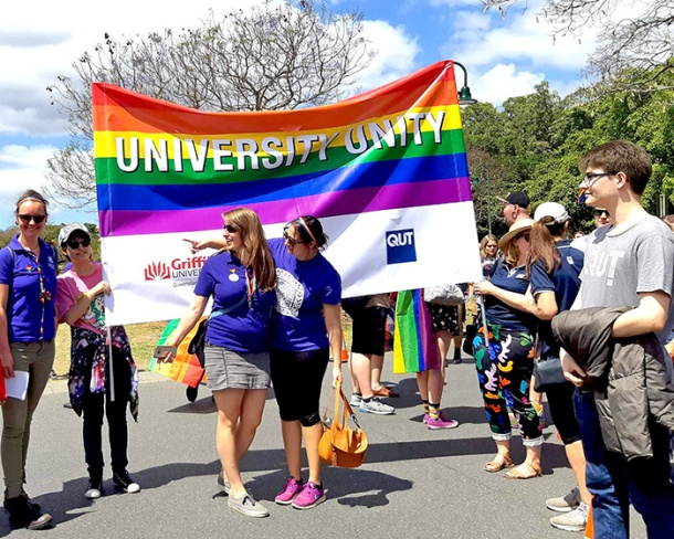 Unified Universities banner Brisbane Pride March 2018