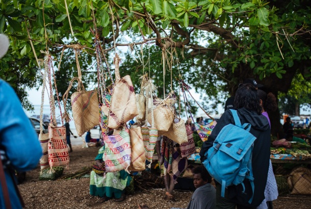 #1 Woven bags hanging from a tree in Tanna