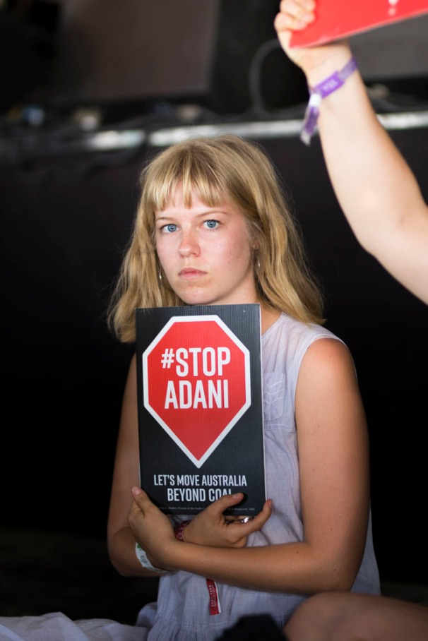 Adani protesters tried to disrupt Anthony Albanese's speech at the Woodford Folk Festival. Photo by Meg Williams-Dell @dead-_milk_photography