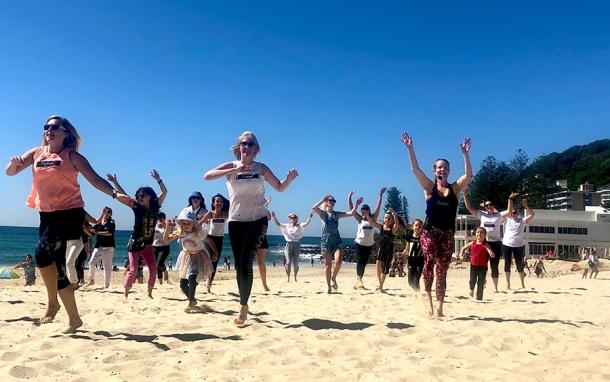Flashmob Gold Coast at Burleigh Beach