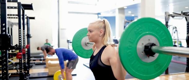 Female athlete in training
