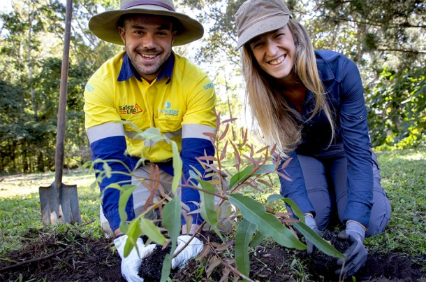 Seqwater field ranger Mitchell Thomas-Carr and Gold Coast Catchment Association executive officer Rosalinde Brinkman