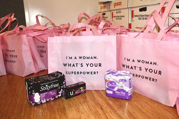 Bra Gifting event sanitary packs