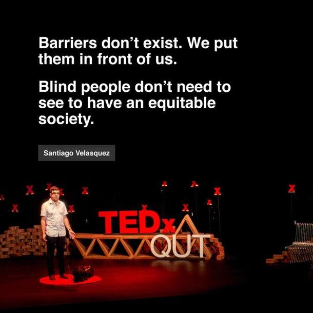 Santiago Velasquez speaking at a TedxQUT event