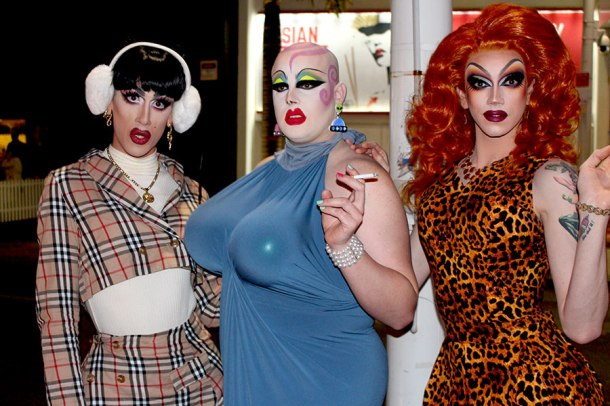 Veteran Gold Coast drag queens Natasha St James, Sellma Soul and Scarlett Fever