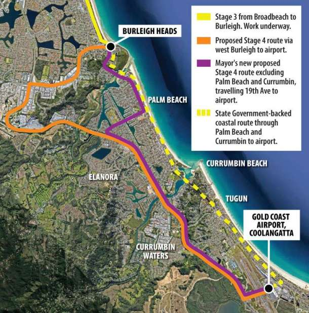 Stage 4 Gold Coast light rail extension map